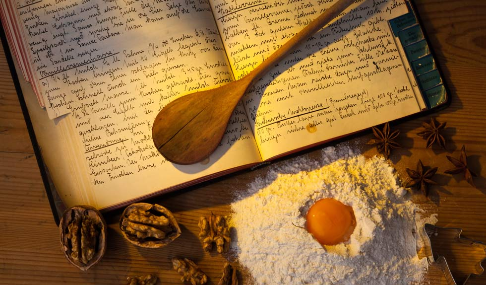 cookbook on the kitchen table